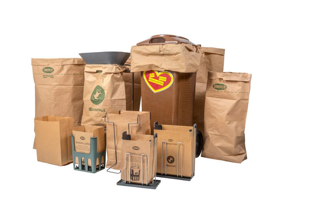 Gruppbild Produkter Svenco, Matavfallspåsar, Papperssäckar